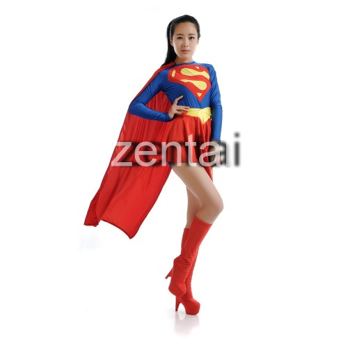 Sexy Female Superman Full Body Spandex Lycra Zentai Suit