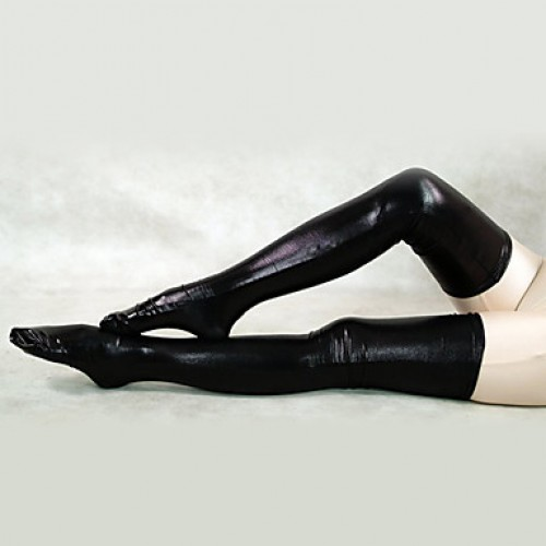 Shiny Metallic Black Long Stockings