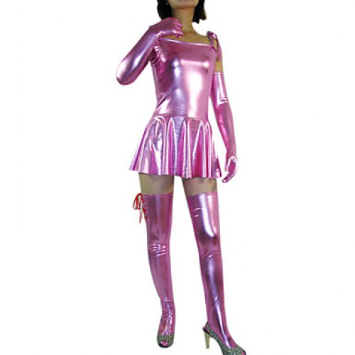 Short Sleeve Short Pink Shiny Metallic Dress