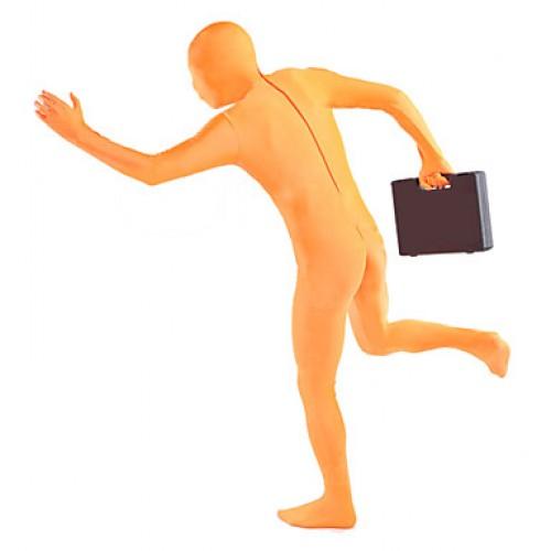 Unisex Orange Lycra Full Body Zentai Suit