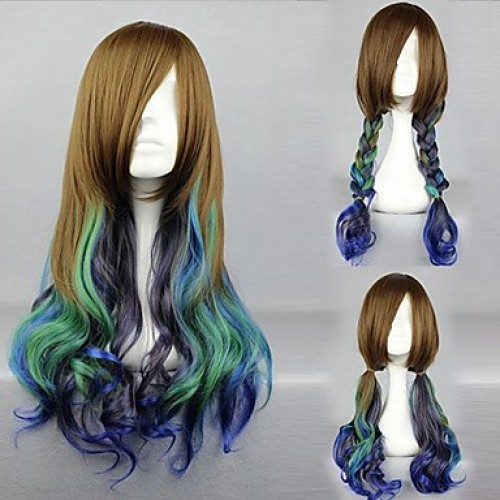 Victoria Style Brown and Cyan and Purple Mixed Color Country Lolita Wig