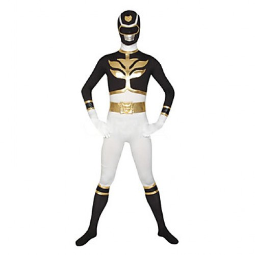 White and Black Super Hero Lycra Zentai Suit