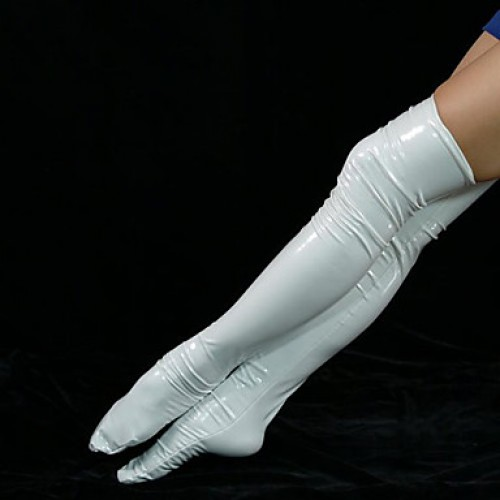 White PVC Unicolor Long Stockings