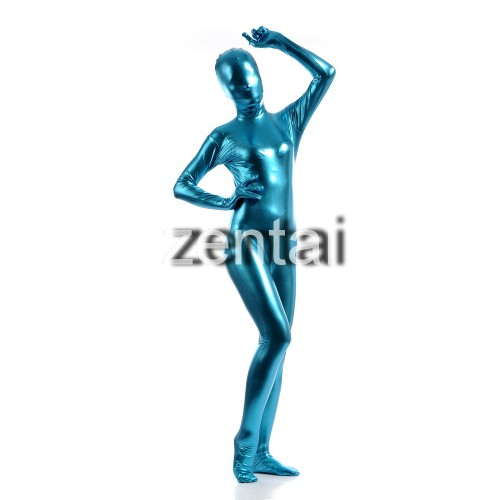 Woman's Full Body Blue Color Shiny Metallic Zentai