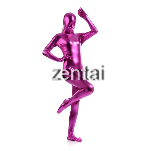 Woman's Full Body Purple Color Shiny Metallic Zentai