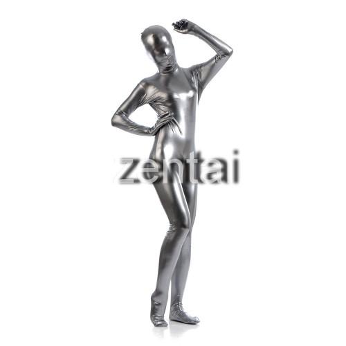 Woman's Full Body Silver Gray Color Shiny Metallic Zentai