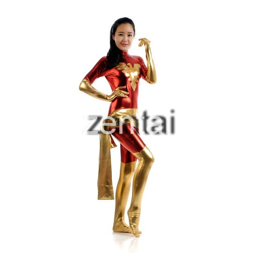 X-man Red Phoenix Marvel Girl Shiny Metallic Zentai Suit
