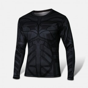 Batman Black Long Sleeve T-shirt Round Collar