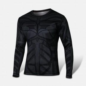 Batman Black Long Sleeve T-shirt Round Collar