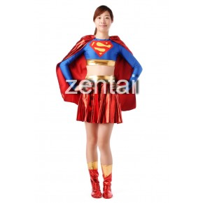 Red and Blue Shiny Metallic Women Superman Spandex Zentai
