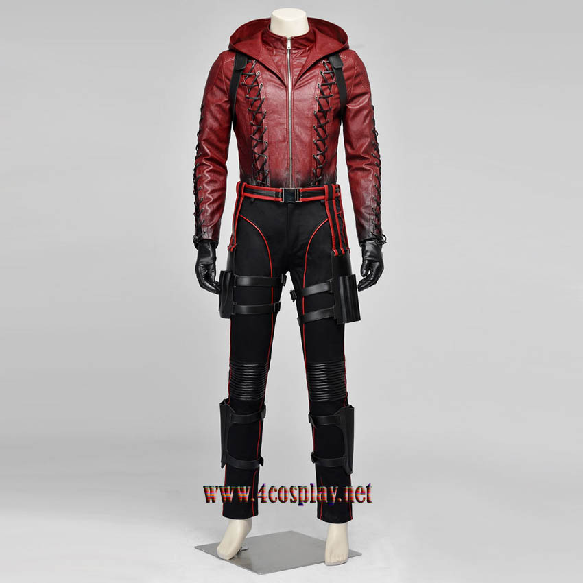 Red Arrow Roy Harper Cosplay Costume Arsenal Red Coat Outfit Uniform