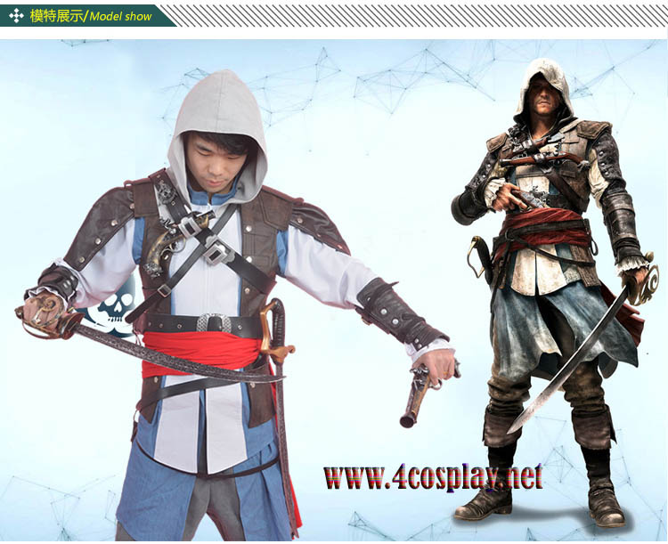 Assassin's Creed IV 4 Black Flag Edward Kenway Cosplay Custome