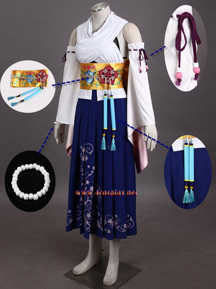 Final Fantasy Ten Yuna Cosplay Costume Outfit Halloween Cosplay Suit