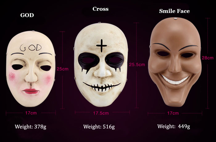 GRP Mask Movie The Purge Anarchy Mask God Mask Cross Mask Smile Mask Glass Fiber Reinforced Plastics Mask