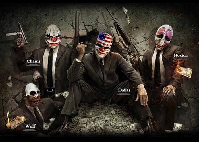 Game Payday 2 Mask The Robbers Dallas/Wolf/Chains/Hoxton Cosplay Mask Glass Fiber Reinforced Plastics Mask