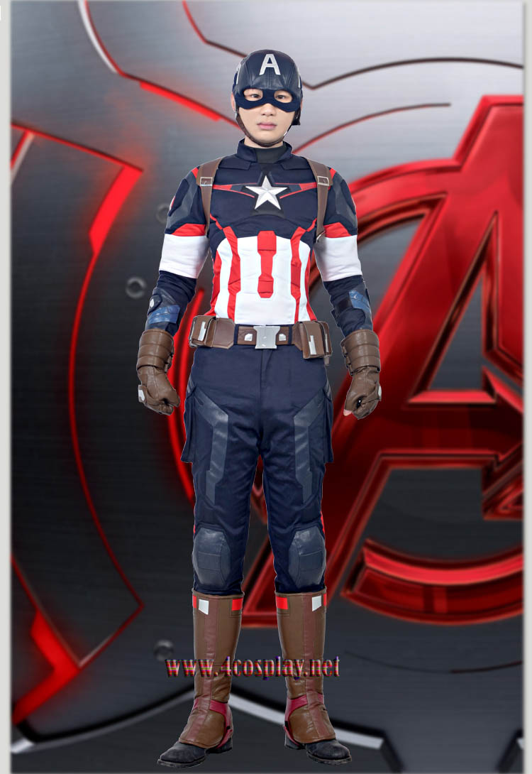 Mavel Movie Avengers Age of Ultron Captain America Cosplay Costume